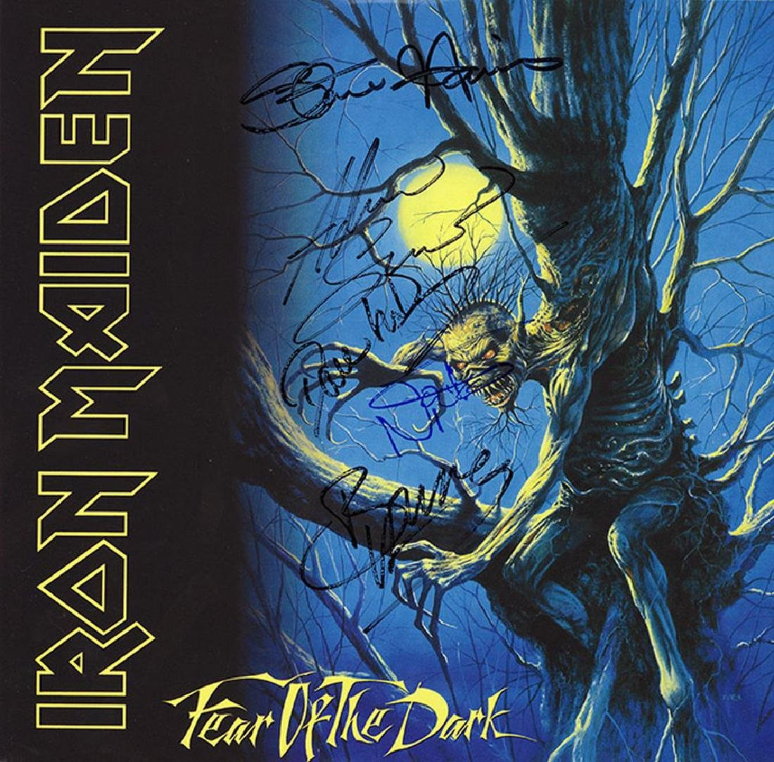 Iron Maiden Band Signed Fear Of The Dark Album