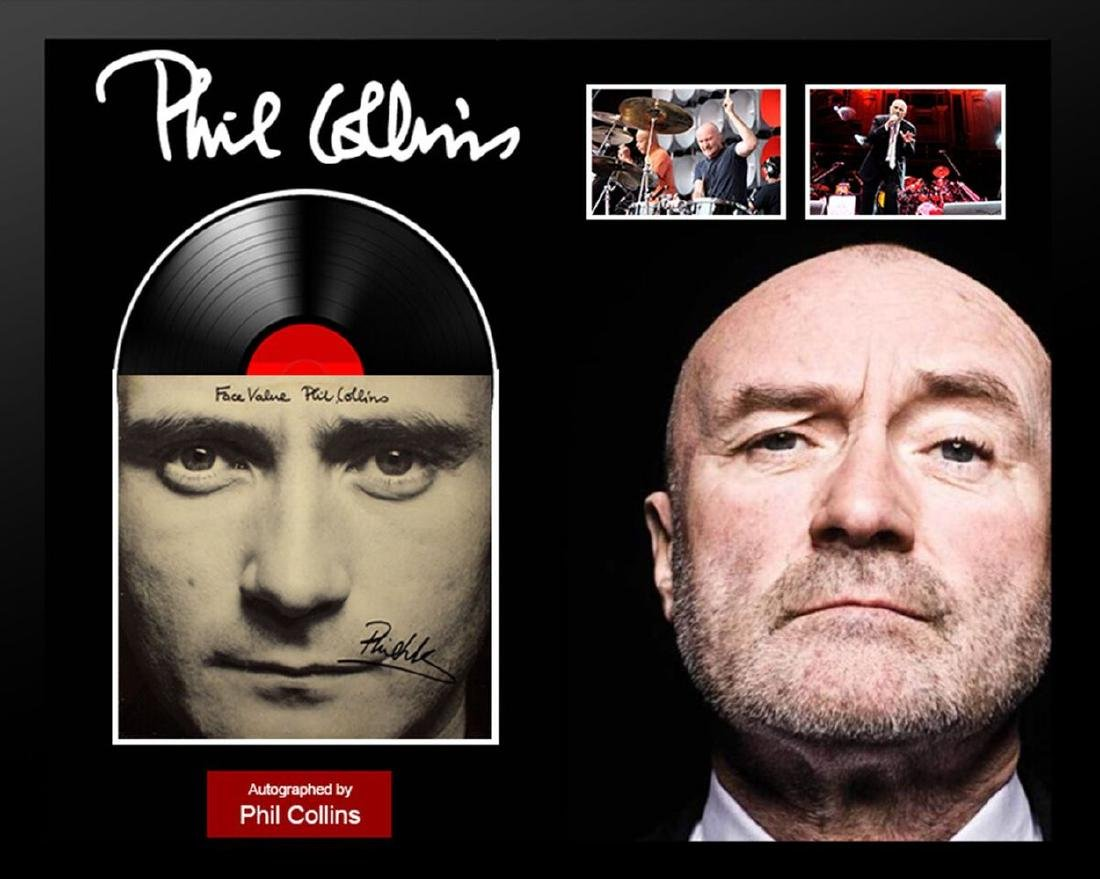 "Phil Collins Autographed ""Face Value""  Album Framed"