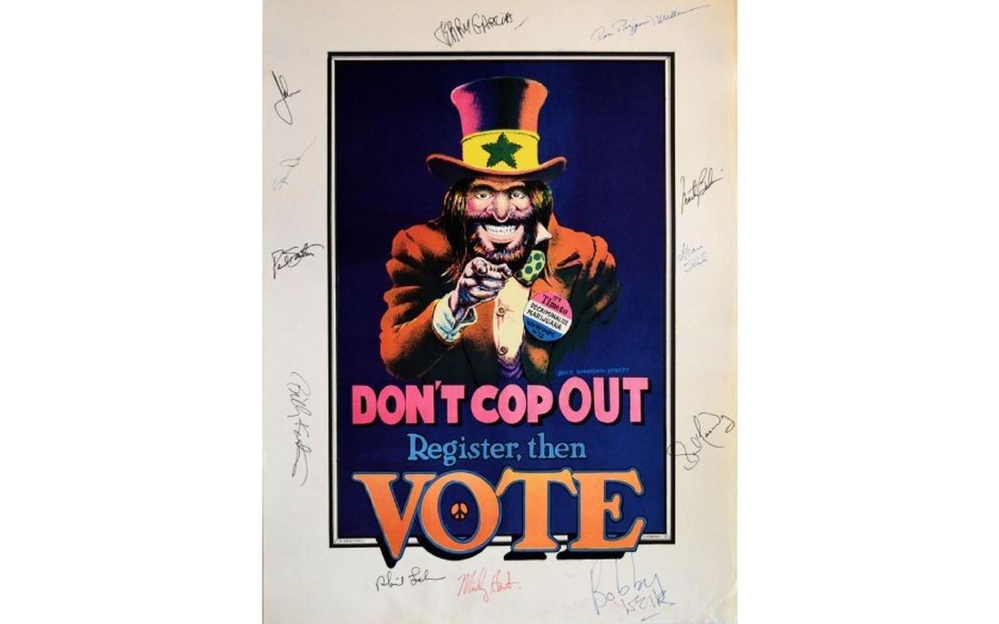 Grateful Dead & Jefferson Airplane Signed VOTE Poster