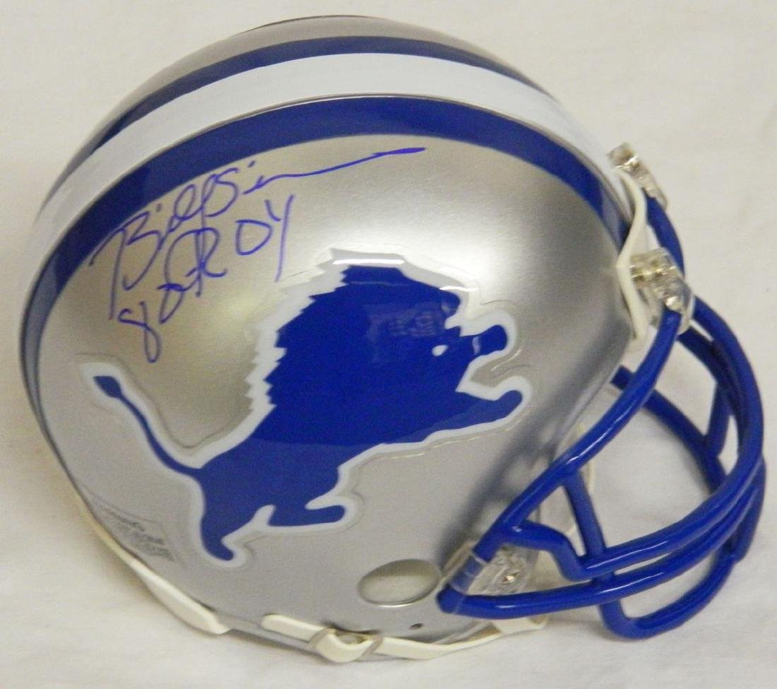 Billy Sims Signed Detroit Lions Throwback Riddell Mini