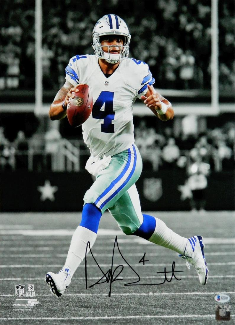 Dak Prescott Signed Dallas Cowboys Action Spotlight