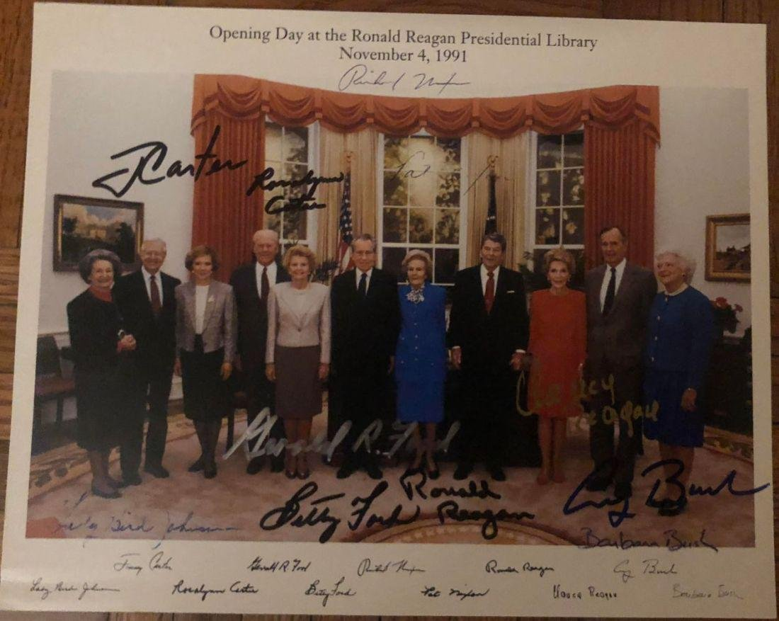 Presidents & First Ladies Signed Group Portrait