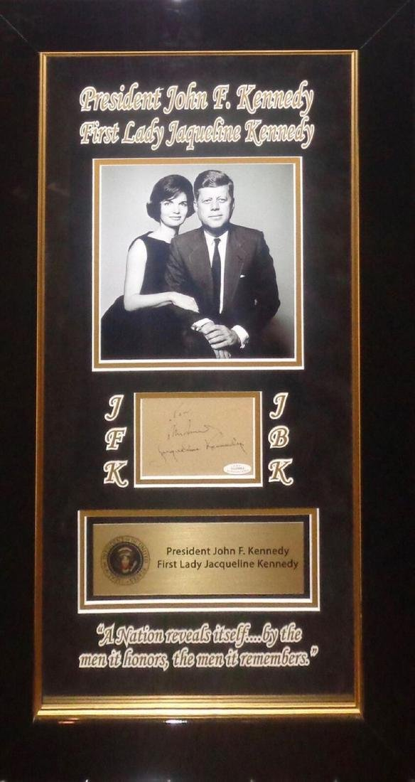 John F. Kennedy and Jacquline Kennedy Framed Signature