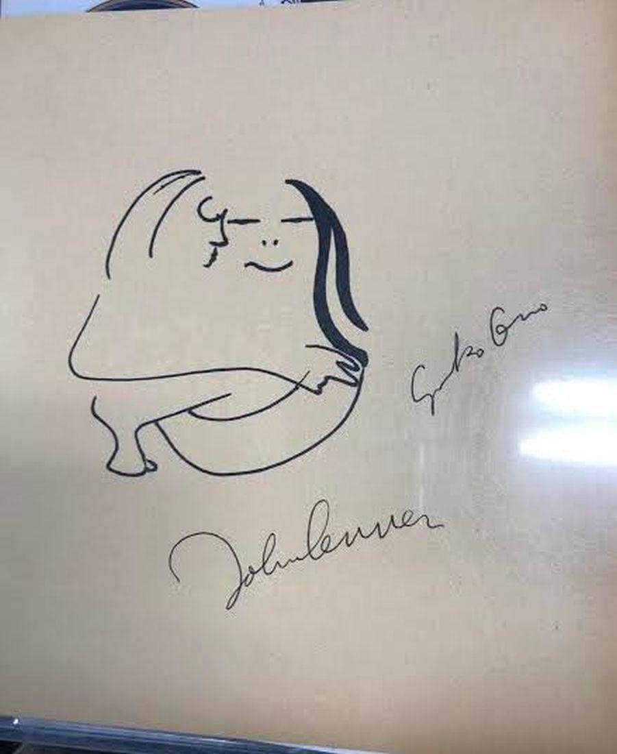 John Lennon & Yoko Ono Signed and Drawn Sketch