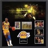 Magic Johnson Signed Basketball Court Collage