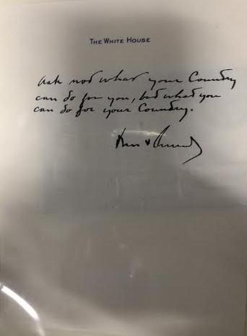 """John F. Kennedy Signed & Handwritten """"Ask Not.."""" Sheet"""