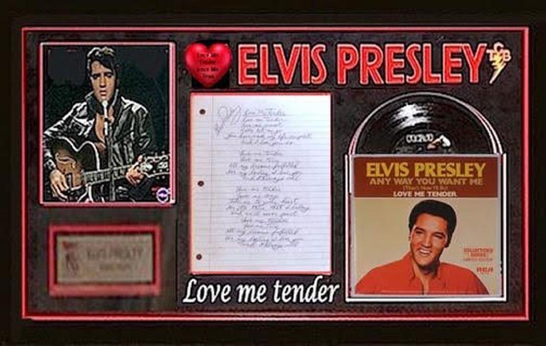 """Elvis Presley """"Love Me Tender"""" Signed & Handwritten"""