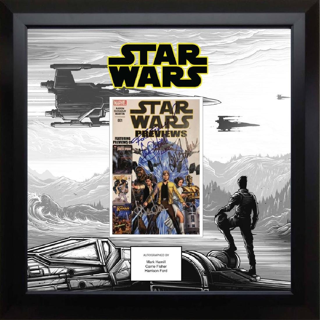 Star Wars Cast Signed Marvel Previews Comic Collage