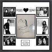 Lennon & Ono Signed, Drawn & Framed Sketch Collage