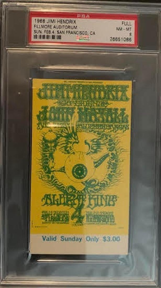 PSA/DNA Original 1968 Ticket Jimi Hendrix Experience