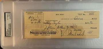 PSA/DNA Mae West Signed Check
