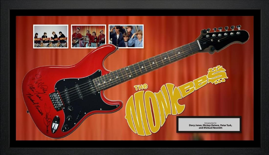 Monkees Signed and Framed Guitar