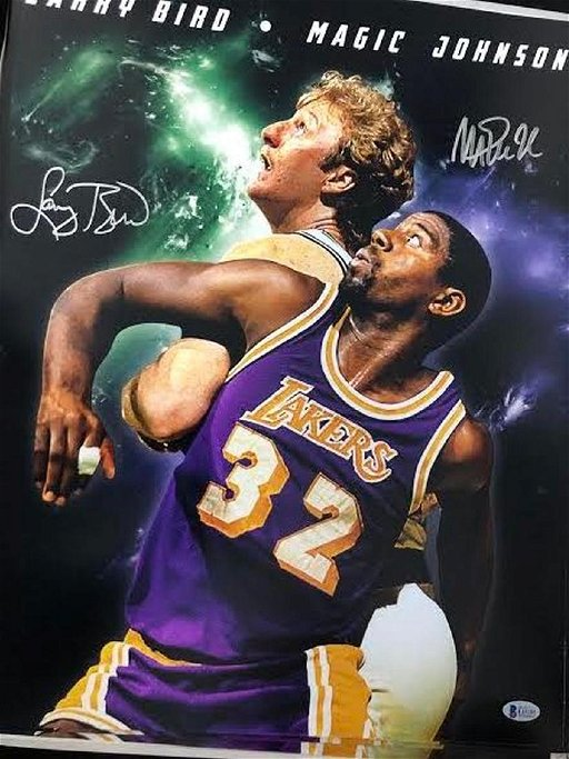 info for 30e37 28d09 Larry Bird and Magic Johnson Signed Poster - Feb 21, 2019 ...