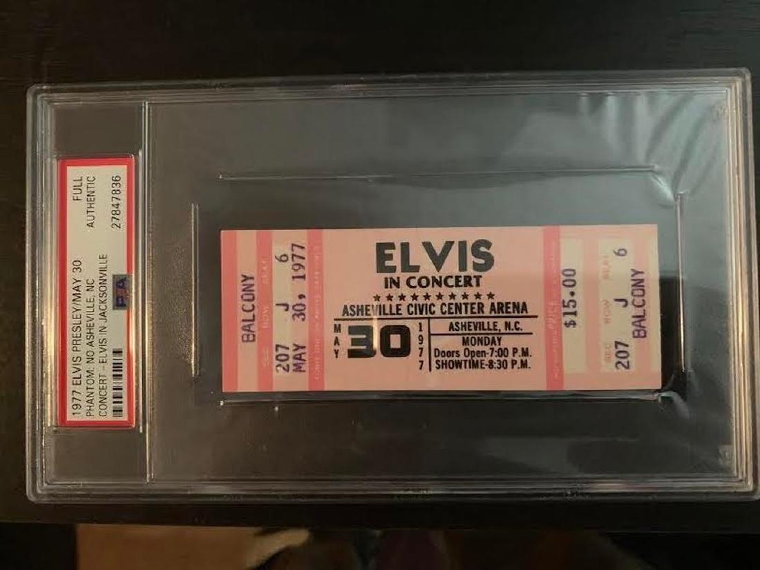 PSA/DNA Original 1977 Ticket Elvis Presley Asheville