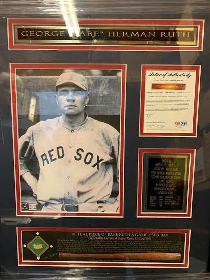 Actual Piece of Babe Ruth's Bat Framed Collage
