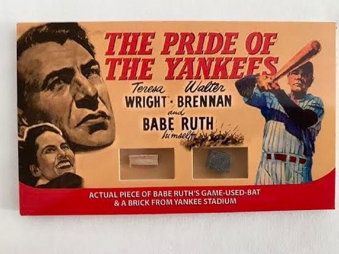Babe Ruth Framed Piece of Game-Used Bat and Original