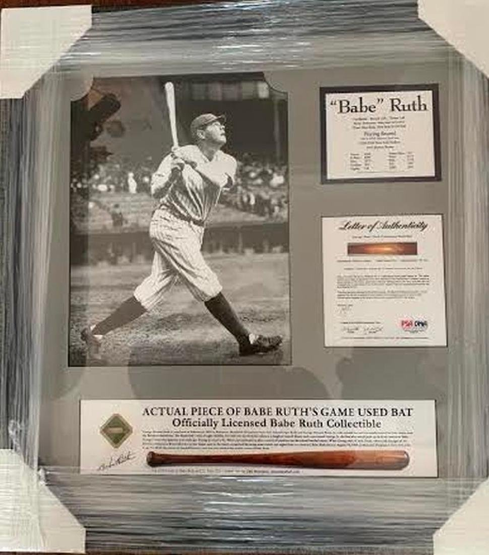 Babe Ruth Game Bat Piece Framed Collage