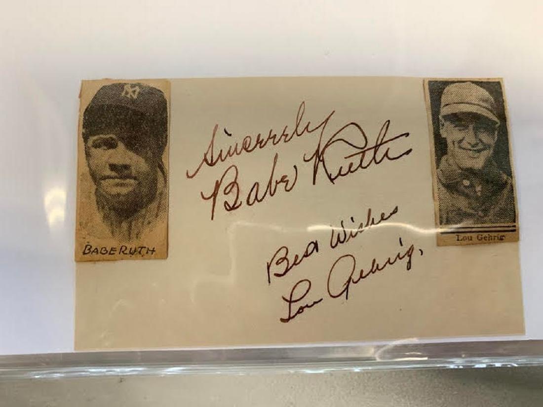 Gehrig and Ruth 3x5 Signature Cut