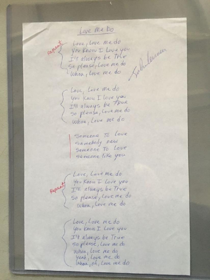 """John Lennon """"Love Me Do"""" Signed Lyrics"""
