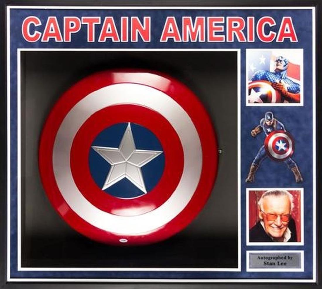 "Stan Lee ""Captain America"" Signed Shield Collage"