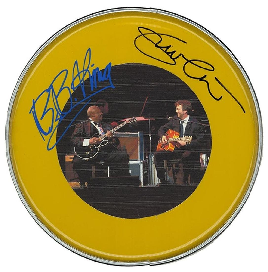 Eric Clapton & B.B. King Signed Drum Head