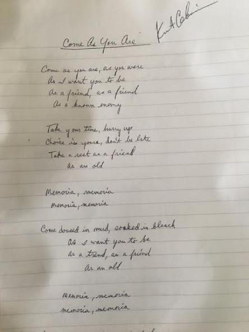 "Kurt Cobain ""Come As You Are"" Signed Lyrics"