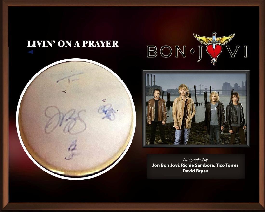 Bon Jovi Signed Drum Head - Livin' On A Prayer