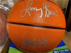 PSA/DNA Larry Bird & Magic Johnson Signed Basketball