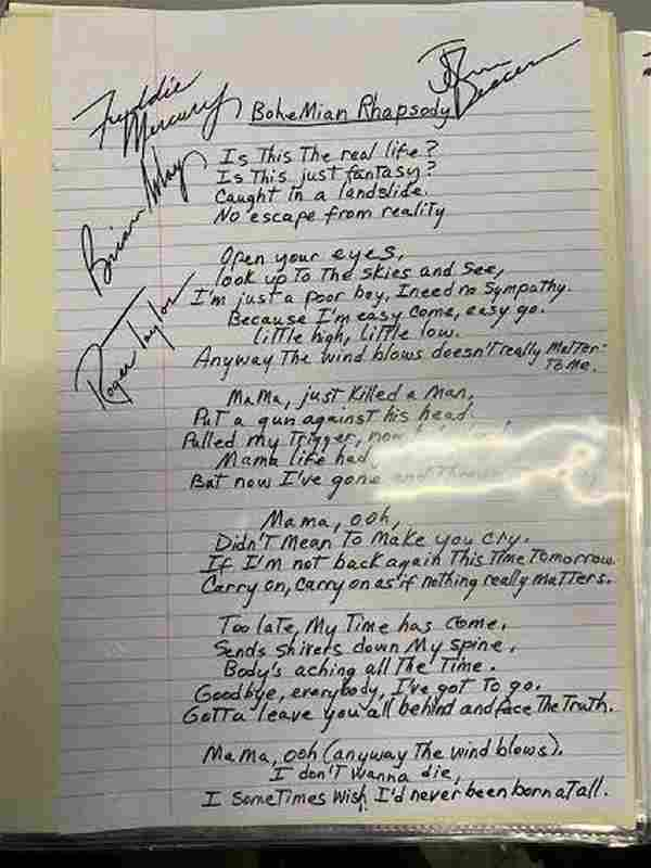 Queen Signed and Written Bohemian Rhapsody Lyrics