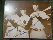 PSADNA Williams Mantle and DiMaggio Signed Photo