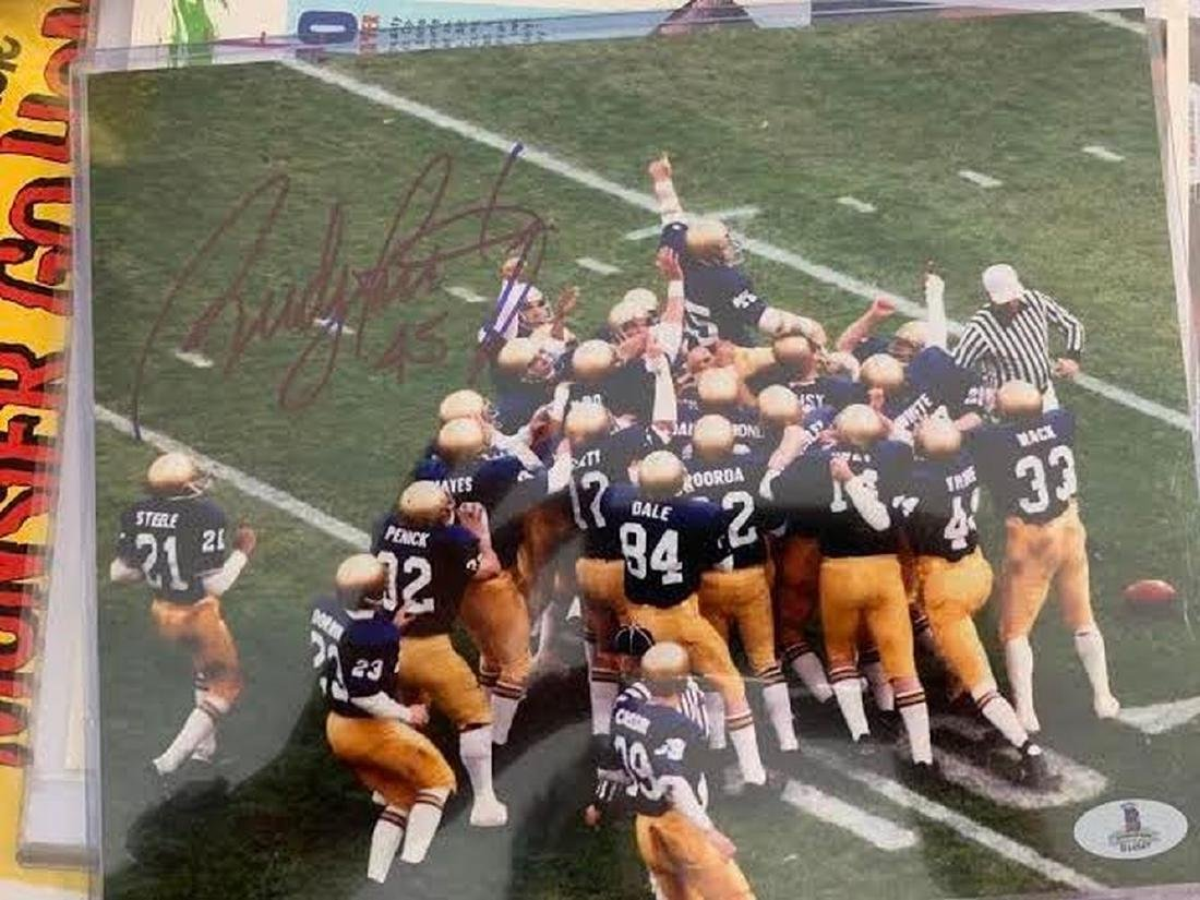 Official Website New Rudy Ruettiger Notre Dame Glass And Mirror Football Display Case Uv Complete Range Of Articles Autographs-original