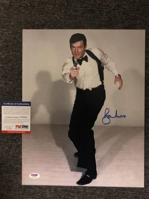 PSA Authenticated Roger Moore Signed Bond 16x20 Photo