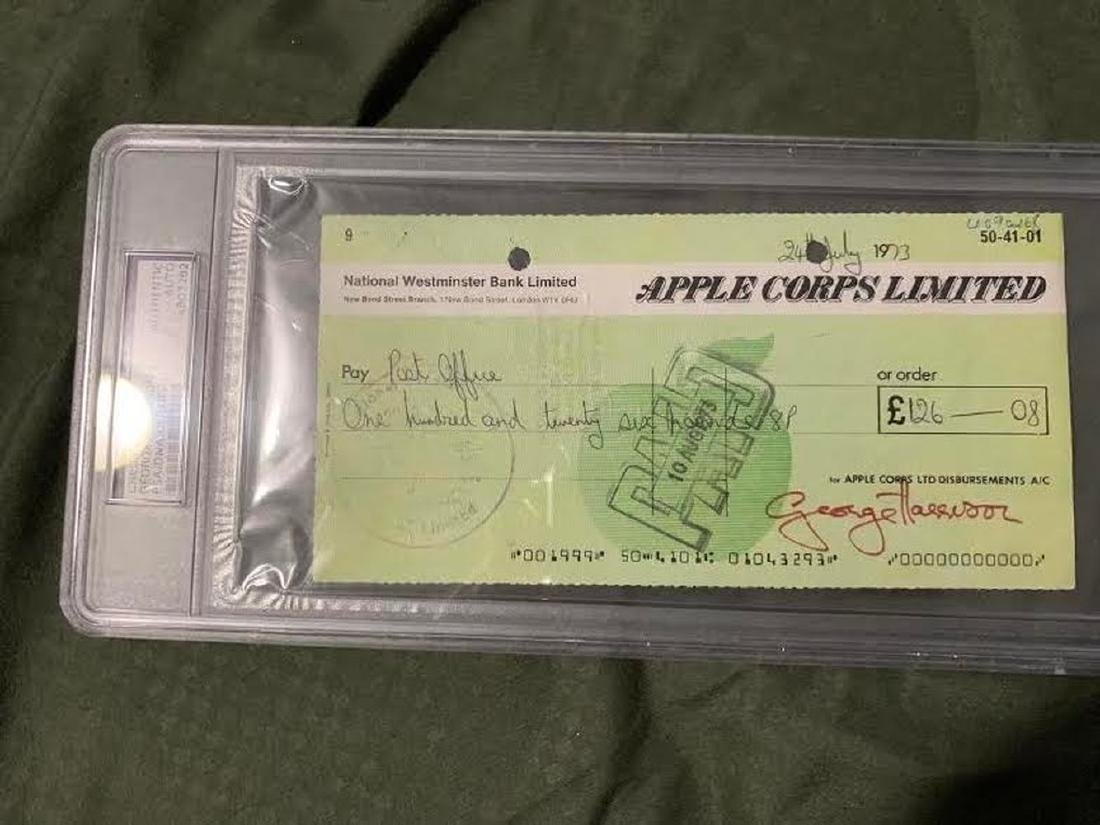 PSA George Harrison Signed Apple Corps Check