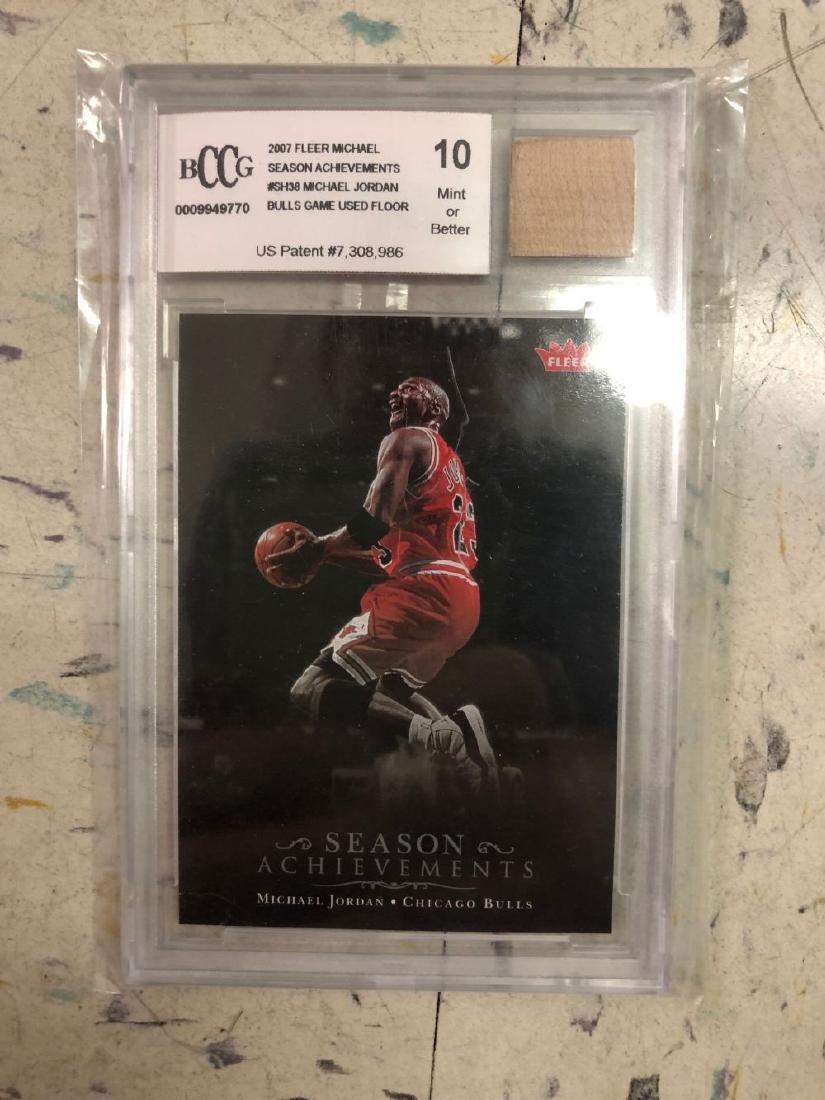 Bulls Games Used Floor Fragment w/ Michael Jordan Card