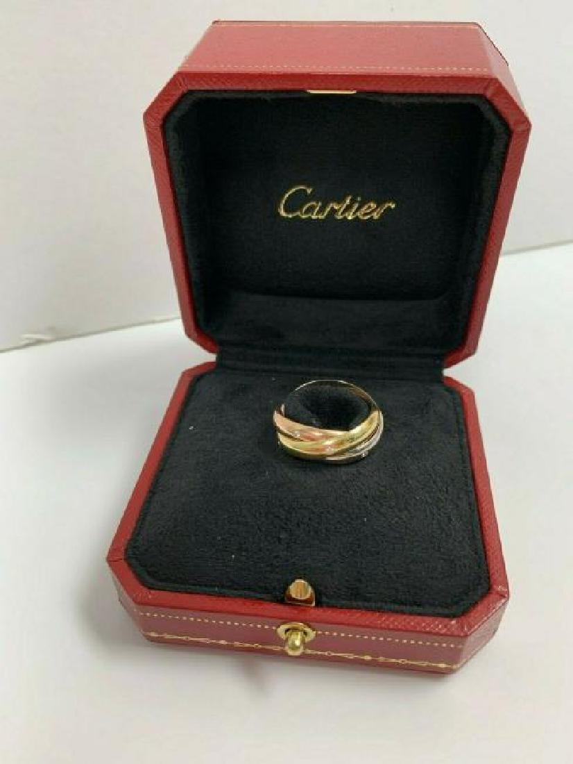 Cartier 18K White Yellow Rose Gold Diamond Trinity Ring