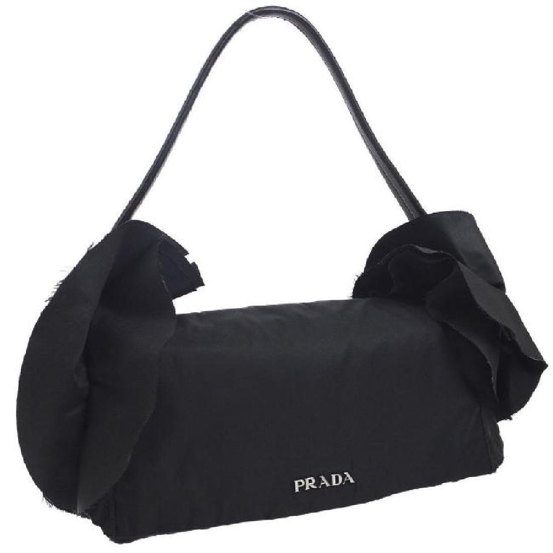 Vintage Prada Frill Nylon Handbag: Black