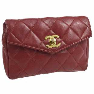 6d29ffb686d3 Vintage Chanel Quilted CC Belt Waist Bum Bag Red