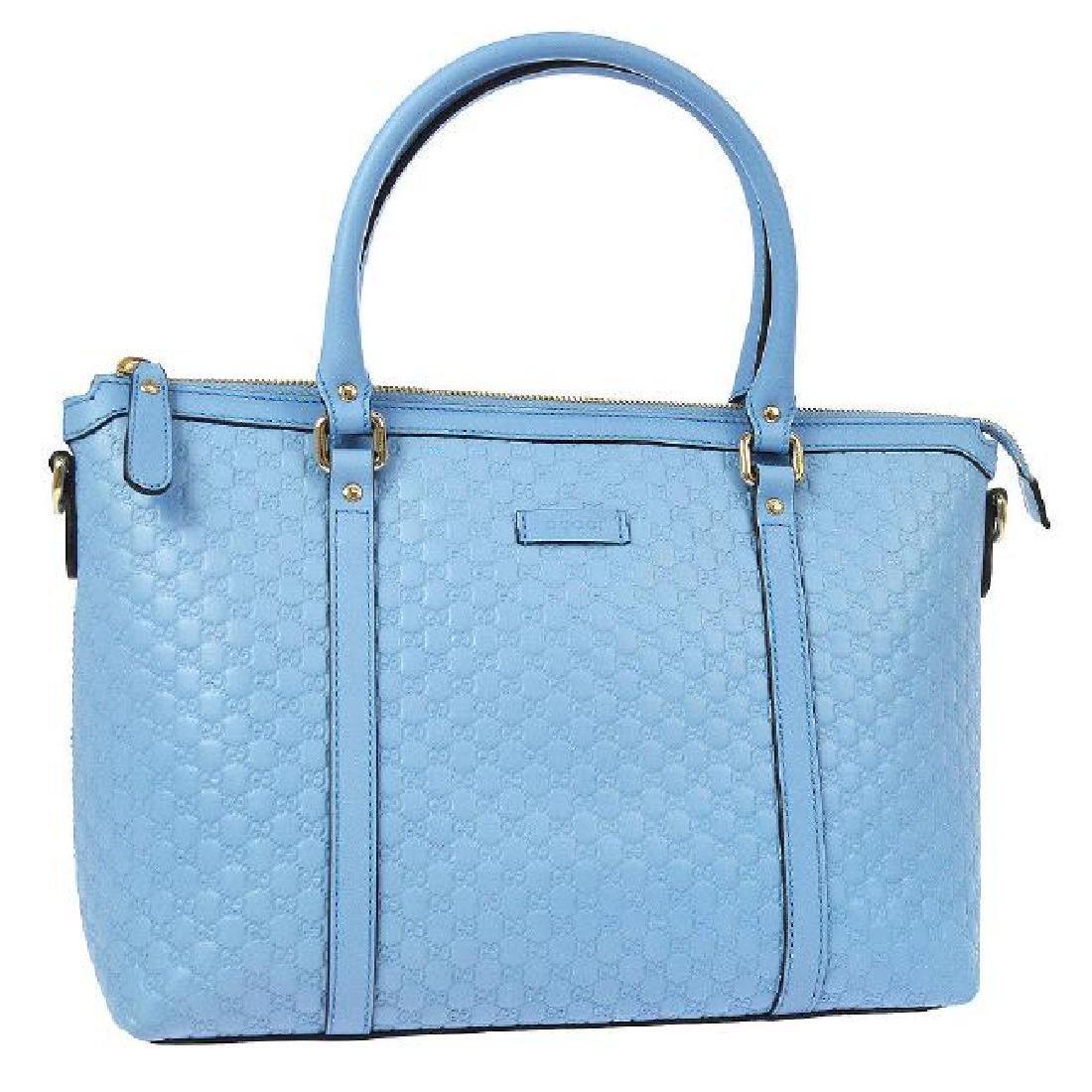 Vintage Gucci GG Pattern 2way Handbag: Light Blue