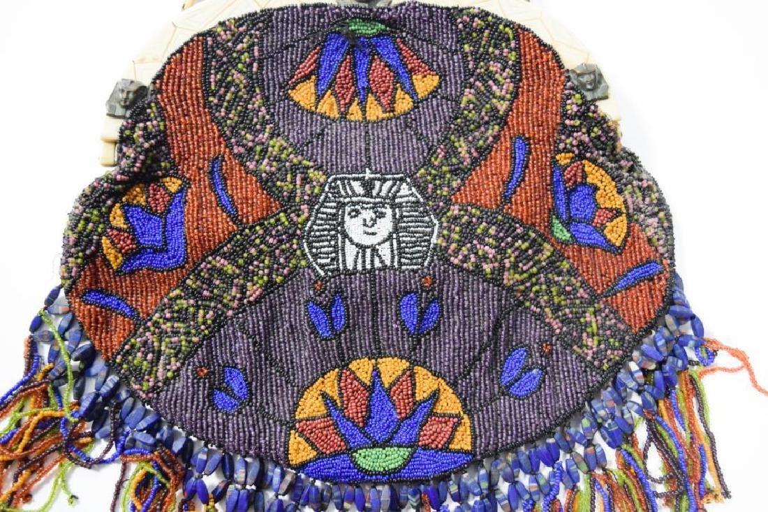Egyptian Revival Beaded Purse - 9