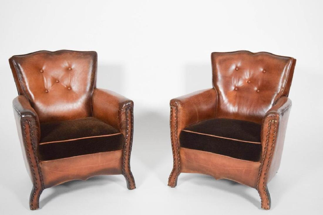 Pair of Leather and Mohair Mustache Chairs