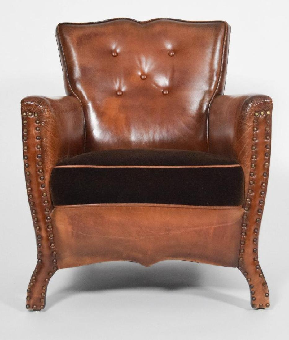 Pair of Leather and Mohair Mustache Chairs - 4