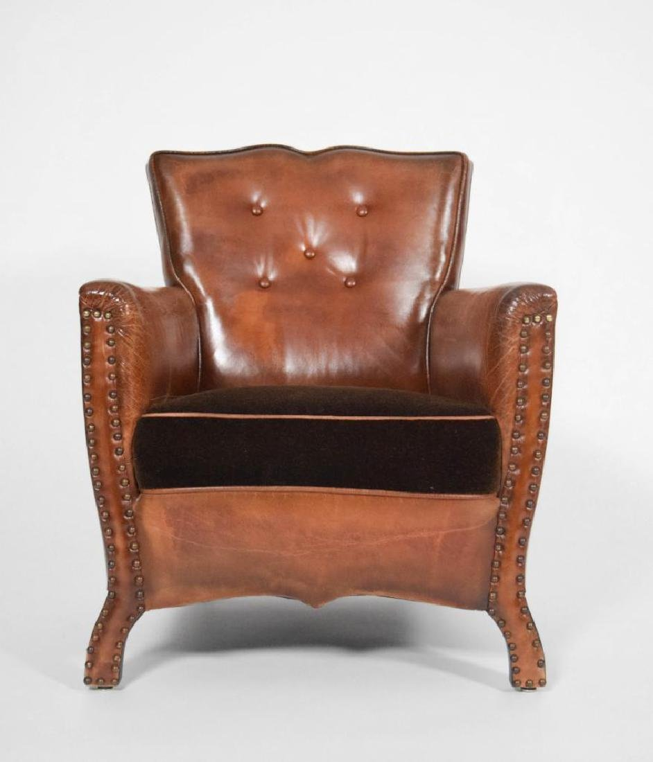 Pair of Leather and Mohair Mustache Chairs - 5
