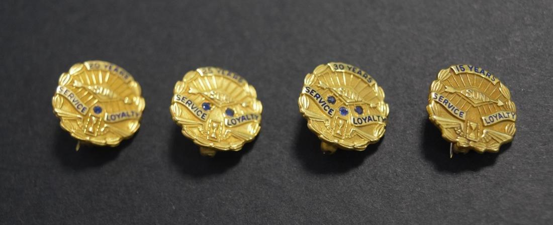 Four 14 Kt Gold Sun Oil Co Service Pins