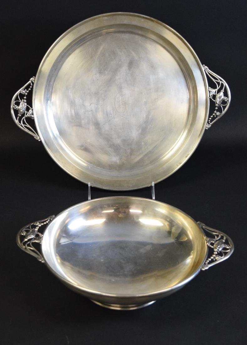 2pcs Sterling Silver, Bowl & Tray