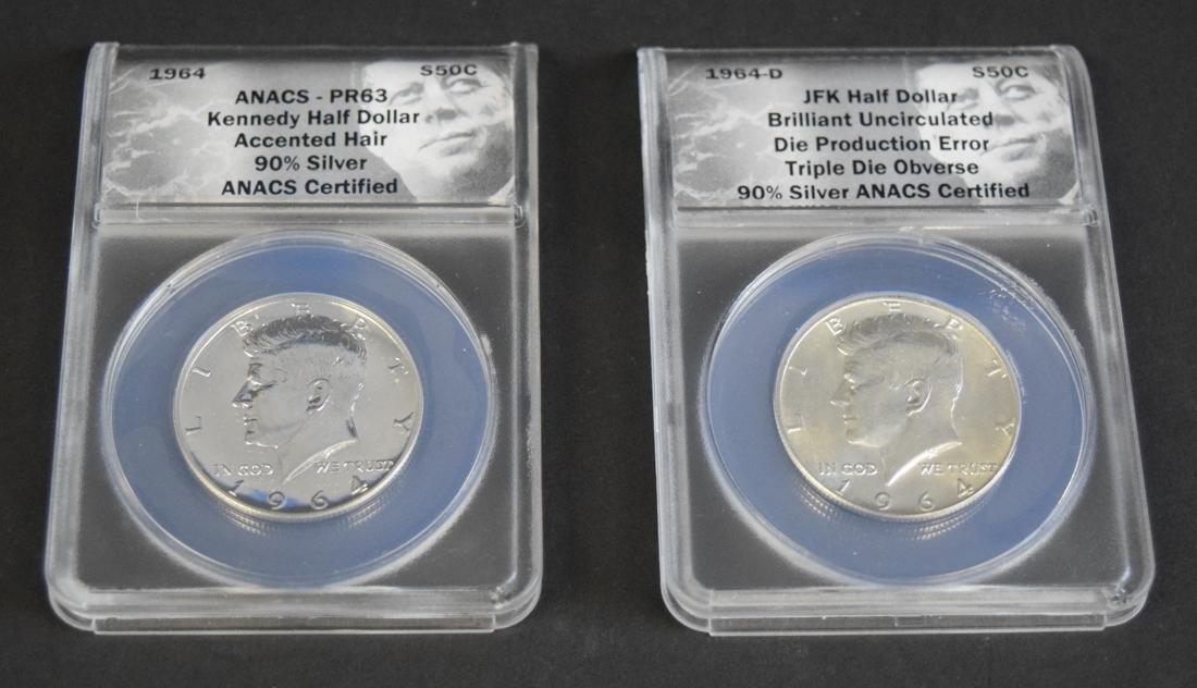 2 1964 Kennedy Silver Half Dollars - error
