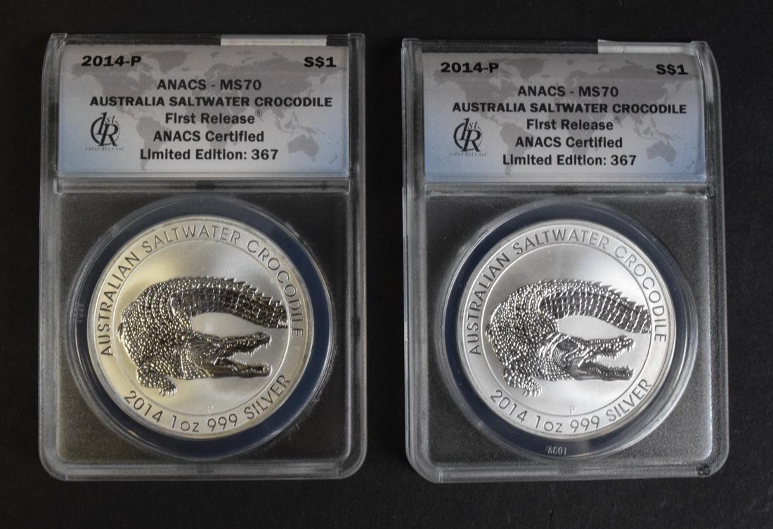 2 Australian Saltwater Crocodile Silver Coins