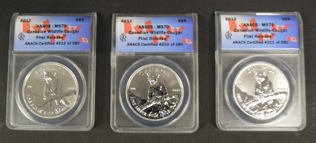 3 Canadian Wildlife Cougar Silver Coins