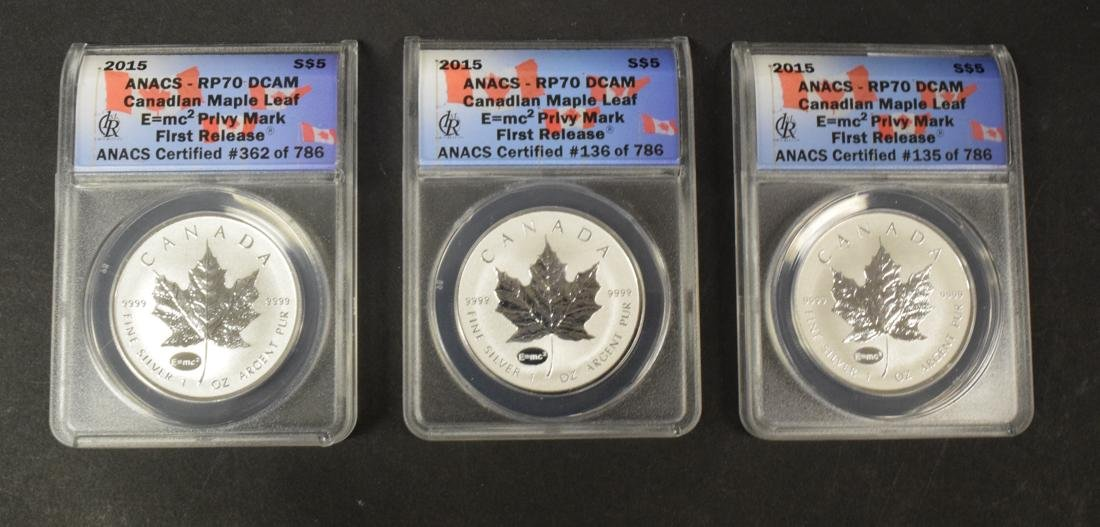 3 Canadian Maple Leaf Silver Coins
