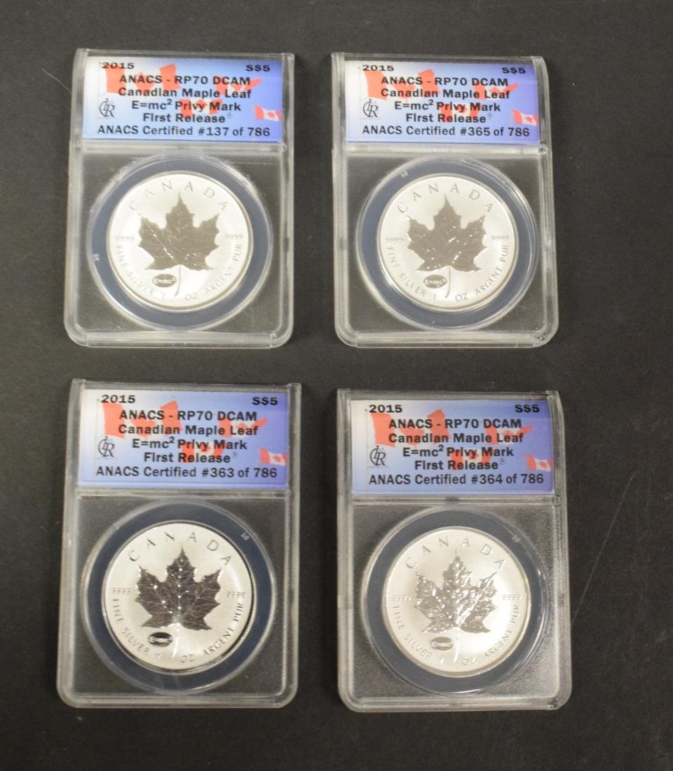 4 Canadian Maple Leaf $5 Silver Coins