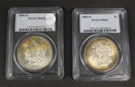 Two 2 1885 O Morgan Silver Dollar MS63